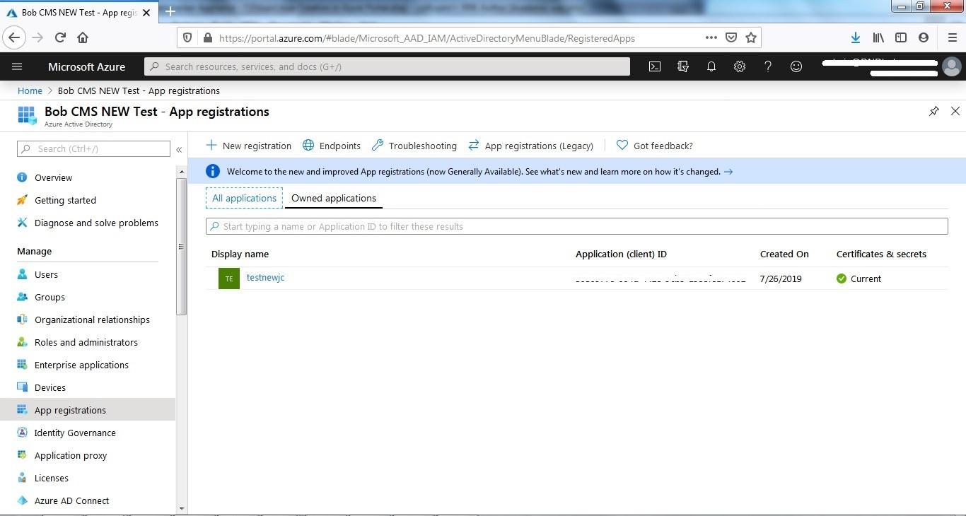 App Creation in Azure Portal