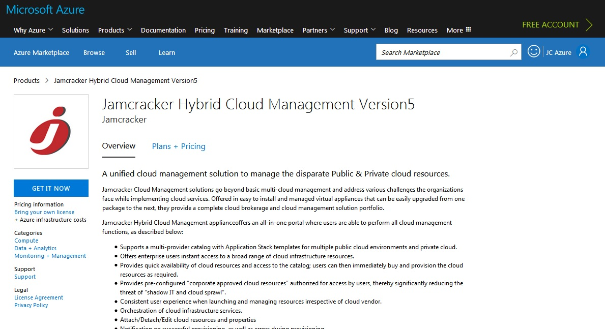 Launch Jamcracker Appliance from Azure Marketplace